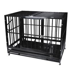"""37"""" Heavy Duty Pet Dog Cage w/ Wheels&Tray Strong Metal Crat"""