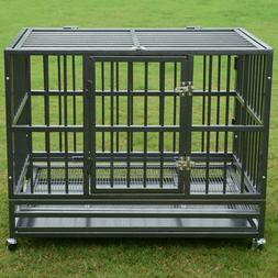 """37"""" or 48"""" Heavy Duty Strong Metal Pet Dog Cage Crate Kennel"""