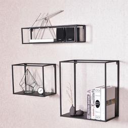 3pc Heavy Duty Wall Cube Display Shelf Set Industrial Art Me