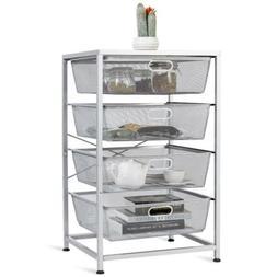 4 Drawer Mesh Shelves Basket Utility Heavy Duty Storage Orga
