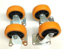 Heavy Duty 4 Inch Caster Plate Polyurethane 2 Swivel and 2