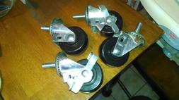 4 HEAVY DUTY CASTERS WITH LOCKS 3 X 1/4 -inch wheels