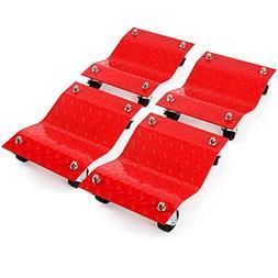 4 - Red 12 Tire Premium Skates Wheel Car Dolly Ball Bearings