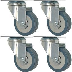 4 pack 2-Inch Heavy Duty Swivel Wheel Polyurethane Plate Cas