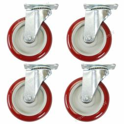4 Pack 5 Inch Caster Wheels Swivel Plate Polyurethane Wheels