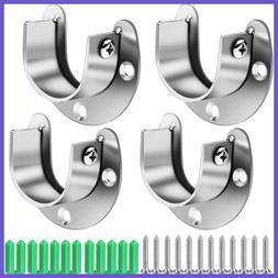 4 Pcs Closet Rod Holder Support U Shaped Socket Flange Set H