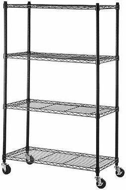 AmazonBasics 4-Shelf Shelving Storage Unit on 3'' Wheel Cast