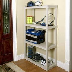 4 SHELF STORAGE UNIT Heavy Duty Plastic Shelf Garage Rack Sh
