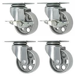 4 All Steel Swivel Plate Caster Wheels w Brake Lock Heavy Du