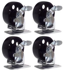 4 Large All Steel Swivel Plate Caster w Brake Lock Heavy Dut