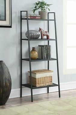 4 Tier Heavy Duty Metal Leaning Ladder Shelf Bookcase Booksh