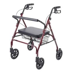 Heavy Duty Bariatric Red 4-Wheel Rollator Walker with Large
