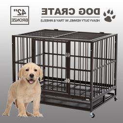 "42"" Dog Crate Kenel Heavy Duty Pet Cage Playpen W/Tray & Whe"