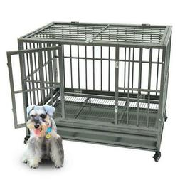 "42"" Heavy Duty Dog Cage Crate Kennel Metal Pet Playpen Porta"