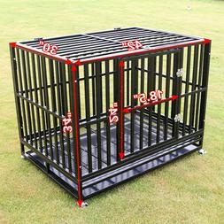 """42"""" Heavy Duty Dog Cage Large Metal Crate Square Tube Pet Ke"""