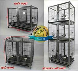 """Homey Pet 43"""" Stackable Dog Cat Heavy Duty Metal Cage w Bowl"""