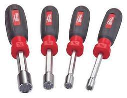 MILWAUKEE 48-22-2404 Nut Driver Set, SAE, Hollow Shaft, 4 pc