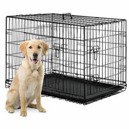 """48"""" Dog Crate Double Door w/Tray Folding Heavy Duty Metal Pe"""