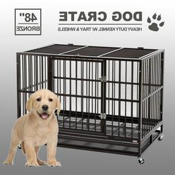 """48"""" Dog Crate Large Kennel Cage Heavy Duty Metal Pet Playpen"""