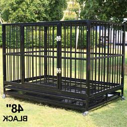 """48"""" Dog Crate Large Kennel Heavy Duty Cage Pet W/Wheels & Tr"""