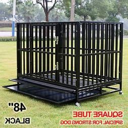 """48"""" Dog Crate Square Tube Strong Heavy Duty Metal Cage Kenne"""