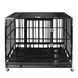"""47"""" Heavy Duty Pet Dog Cage Strong Metal Crate Kennel Plaype"""