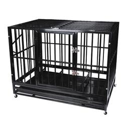 """48"""" Heavy Duty Pet Dog Cage Strong Metal Crate Kennel Plaype"""