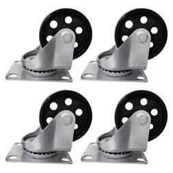 """4pcs 3.5"""" Heavy Duty Steel Plate Cast Iron Casters Swivel Me"""
