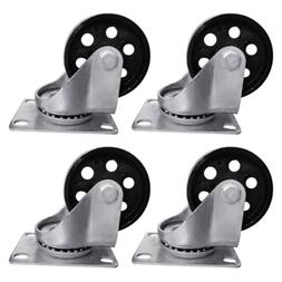 "4pcs 3.5"" Heavy Duty Steel Plate Cast Iron Casters Swivel Me"