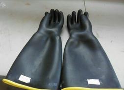 "Gloves Black rubber 18"" size 9 Large heavy duty industrial c"
