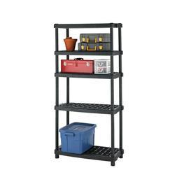 5-Shelf Plastic Shelving Unit Garage Shop Storage Heavy Duty