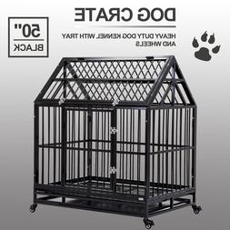 """50"""" Dog Crate Heavy Duty Cage Kennel Pet Playpen House Roof"""