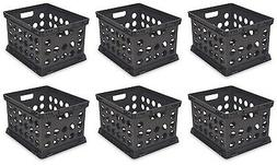 6) Sterilite 16939006 Plastic Heavy Duty File Crate Stacking