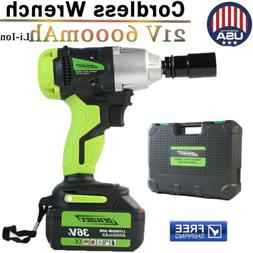 "6000mAh 36FV 1/2"" Brushed Motor Impact Wrench Cordless Heavy"