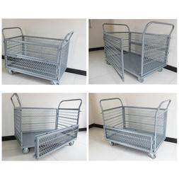 660lbs Foldable Removable Platform Truck Cart Cage Heavy Dut