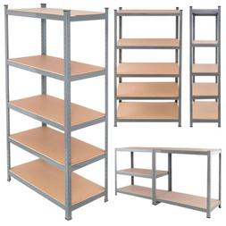 "71"" Heavy Duty Steel Adjustable 5 Layer Storage Shelves Rack"