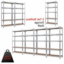 "72"" Heavy Duty Storage Shelf Steel Metal Garage Rack 5 Level"