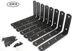 """8 Pcs Matte Black Steel Heavy Duty""""L"""" Corner Brace Joint Ang"""