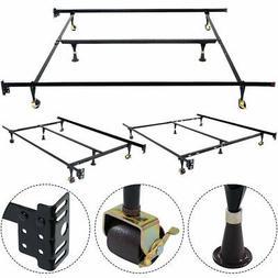COSTWAY VD-51393HW Adjustable Metal Bed Frame, Twin/Full / Q