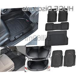 Motor Trend 4pc Black Car Floor Mats Set Rubber Tortoise Lin