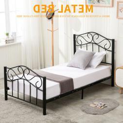 Twin Size Steel Metal Heavy Duty Bed Frame Headboard Footboa