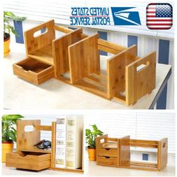 Adjustable DIY Wood Desk Top Book Shelf Rack Storage Organiz