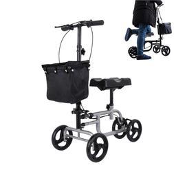 Foldable Steel Knee Walker Scooter Turn Brake Basket Medical