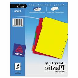 Avery PLASTIC 5Tab Notebook DIVIDERS multi color LABELS AVE2