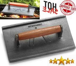 Bacon Press-Cast Iron-Heavy Duty-Wood Handle-Hamburger/Grill