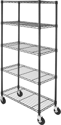 Basics 5-Shelf Shelving Storage Unit on 4'' Wheel Casters, M