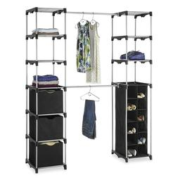 Bedroom Closet Organizer Rod Adjustable Shelf Storage Heavy