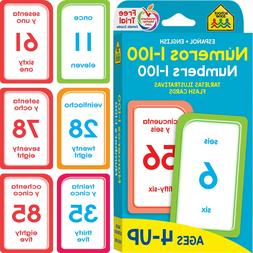 Bilingual Numbers 1-100 Flash Cards Toddlers Learning Presch