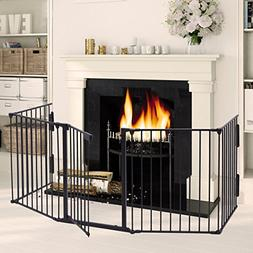 LAZYMOON Black Fireplace Fence Baby Safety Fence Hearth Gate