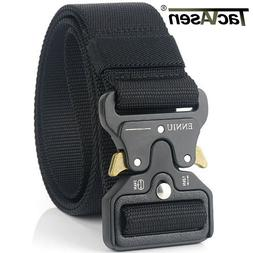 TACVASEN Black Tactical Heavy Duty Men's Military Belt Utili